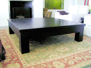 "#120   Oak Coffee Table has a 1 3/4"" thick top and 5"" square legs. Also comes in rectangular. Finish: Stained black with a lacquer finish. 60""x 60"" x 18""h"