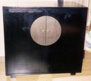 """#129  Asian inspired TV cabinet.  Pocket doors open to reveal space for TV and one shelf for DVD/Cable box. Finish:  Black stain and semi-gloss lacquer  42""""w x 42""""h x 26""""d"""