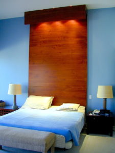 #261 Maple headboard fits against the wall and extends to the ceiling with three lights hidden behind a canopy.  It has a lacquer and stain finish.