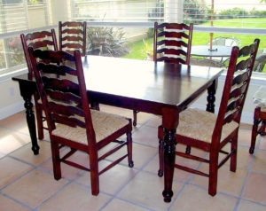 """#266 Maple breakfast table with turned legs. Finish:  Mahogany stain and semi-gloss lacquer 65""""L x 38""""w x 30""""h"""