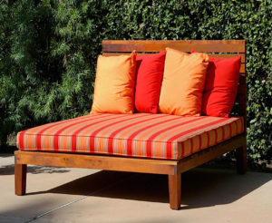 "#313  Outdoor lounge bed made of Spanish Cedar. 60"" x 60"" x 12""h (16""h with a 4"" mattress) headboard is 48""h.   Sunbrella fabric of your choice."