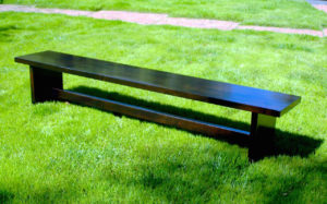 "#327  Maple bench 72""l x 15""d x 18""h Finish Dark brown stain and satin top coat"