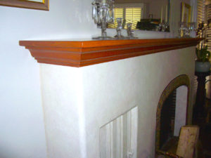 #372  Custom Maple Mantel shelf Cherry stain and semi-gloss lacquer