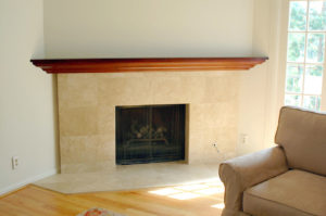 #373  Custom Maple Mantel shelf. Cherry stain and semi-gloss lacquer