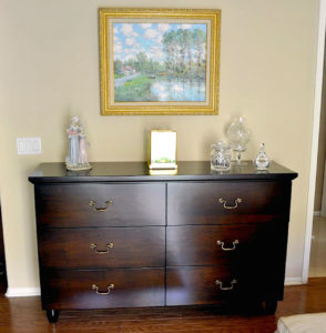 "#436 Maple 6 drawer dresser.  Graceful moulding offers the transition from the top to the body of the cabinet and the legs are turned into a barrel shape.  Finish:  Stain and satin lacquer 68""L x 42""h x 20""d"