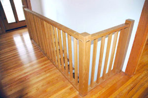 #446 Oak Railing This railing is made with through tenons where each baluster meet the rails. Finish:  Clear satin lacquer.