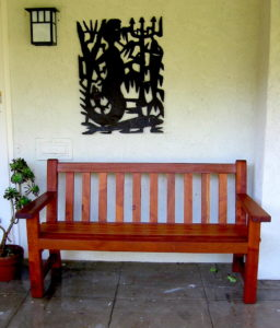 "#314 Spanish Cedar Bench 60""L x 34h (seat 17""h)"