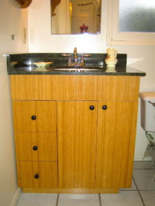 #382 Bamboo Bathroom Vanity with 3 drawers and cabinet. Finish: Carmel color bamboo with clear lacquer