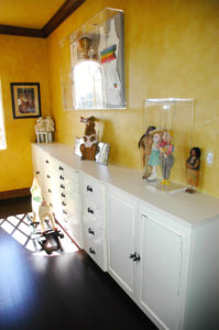 #1998 Example of a custom home office with a painted finish and formica countertops