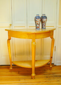 "#326 Demilune table with shelf made of maple. Finish:  satin lacquer 32""w x 15""d x 34""h shelf is 8"" above the floor"